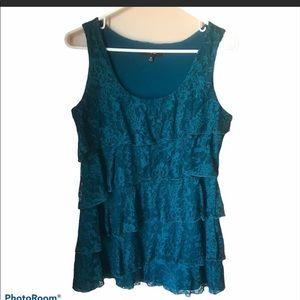 Express Lace Overlay teal sleeveless top. Medium